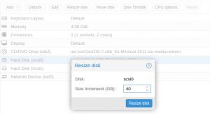 resize disk lvm storage