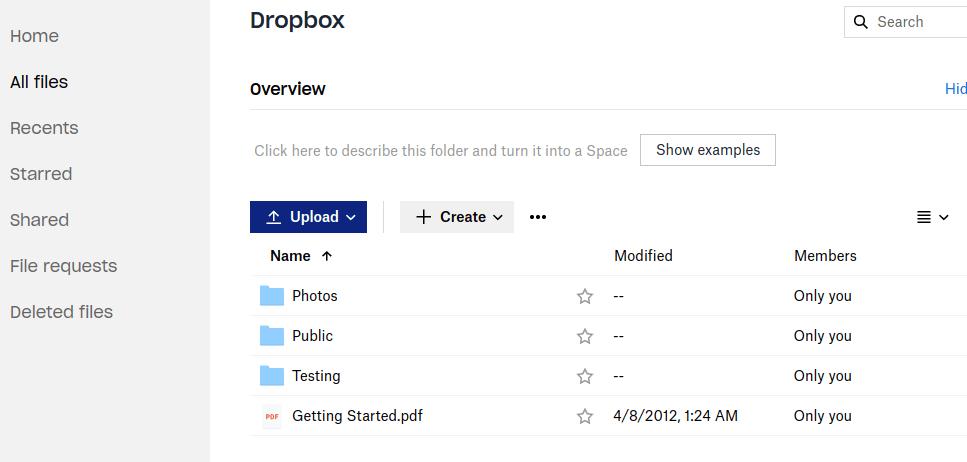 dropbox api folder target